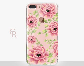 Floral iPhone 6 Case - Clear Case - For iPhone 8 - iPhone X - iPhone 7 Plus - iPhone 6 - iPhone 6S - iPhone SE Transparent - Samsung S8