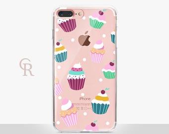 Cupcake Clear Phone Case For iPhone 8 iPhone 8 Plus iPhone X Phone 7 Plus iPhone 6 iPhone 6S  iPhone SE Samsung S8 iPhone 5 Transparent