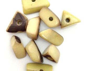 SALE 10% OFF Tagua Dreiecke, mittel, hellgrün, 15mm, 10 Stück,