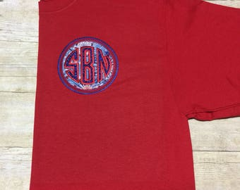 Personalized Monogrammed 4th of July Applique T-Shirt