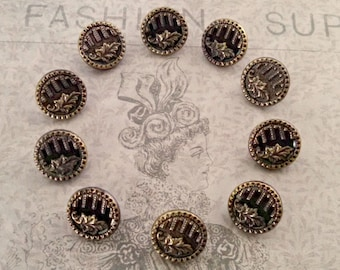 Antique Set of 10 Victorian Brass Picture Buttons, Shank, Leaf Picture, Half Inch, Antique Supply, Collectible, Circa Mid 1800s