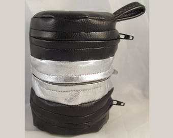 Faux Leather Dice Bag Black and Silver Divided Sectioned Pouch Dungeons and Dragons D&D RPG Role Playing Die Section Miniatures Pleather