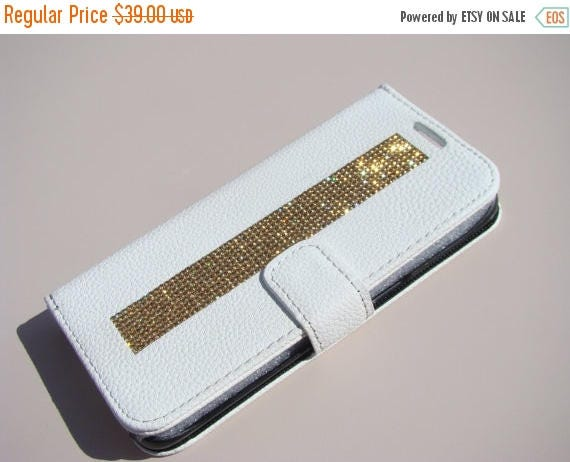 "Sale Galaxy S7  "" Edge "" Gold Topaz Rhinestone Crystals on White Wallet Case. Velvet/Silk Pouch bag Included, Genuine Rangsee Crystal Cases."