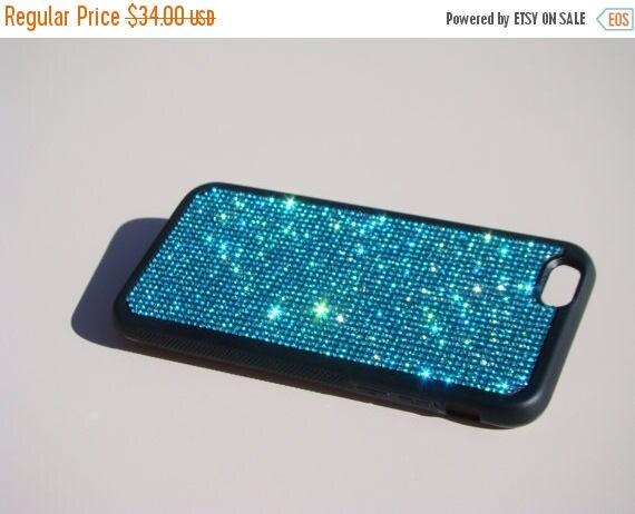 """Sale iPhone 6 / 6s 4.7"""" Aquamarine Blue Rhinestone Crystals on Black Rubber Case. iPhone 6 Aqua Aquamarine, Genuine RangseeCrystalCases"""