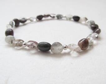 Chlorite quartz bracelet, gemstone bracelet, yoga bracelet