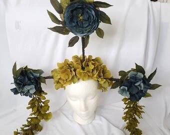 Huge Fairy Flower Headpiece Art Headdress Statement Floral Crown - SALE!
