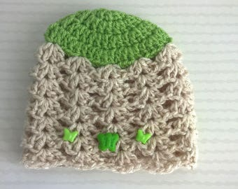 """Hat 6/9 months - """"My Butterfly hat"""" baby wool"""