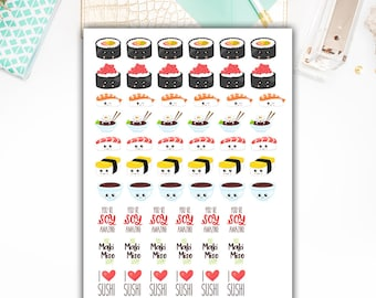 40% OFF SALE Sushi Stickers, Sushi Night Planner Stickers  – Sticker Sale, Sized for the Erin Condren – 3452
