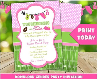Touchdowns or Tutus Green and Pink Editable Party Invitation, Edit with Adobe,  5x7. Instant download, Gender Reveal, Boy or Girl