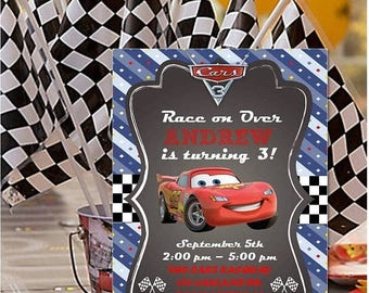 60% OFF Cars 3 Personalized Invitation, Printable DIY, Cars Party, Lightning McQueen personalized invitation, invite, Cars Movie, Digital Fi