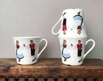 Vintage Figgjo Flint Hardanger Dancers, Cups ,Figgjo Flint Norway, 50's Scandinavian Kitchenware, NEVER USED!