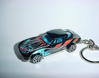 New 3D 1963 Chevrolet Corvette Custom Keychain keyring key chain by Brian Thornton finished in black/patriot USA color trim 63