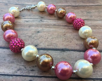 Mauve Necklace - Bubblegum Necklace - Little Girl Necklace - Chunky Bead Necklace - Necklace - Toddler Necklace - Chunky Necklace - Ivory
