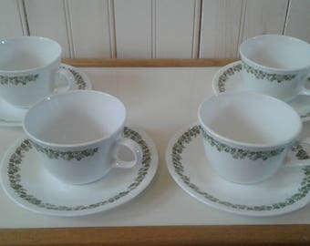 Set of Four (4) Corelle by Corning Spring Blossom Cups and Saucers