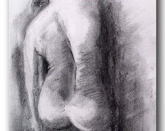 black and white painting naked man charcoal 30 x 40