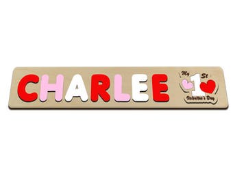 My First Valentine's Day Wooden Name Puzzle Valentines Gift, Personalized Toy, Baby Name Gift, Keepsake Toy, Custom Made 584471937