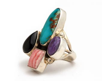 Size 6-Navajo Multi Stone Ring Native American Handmade  jewelry, Bohemian Beach Wedding