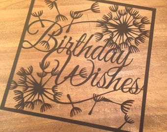 Birthday Wishes  Paper Cutting Template - Commercial Use