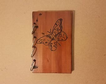 Wood book, butterfly, journal, notebook, guest book