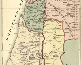 Poster, Many Sizes Available; Map Of Modern Palestine Israel Holy Land 1881