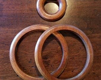 Vintage Wooden Bangles and Brooch Set