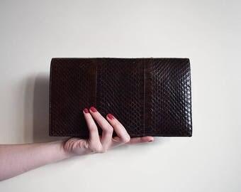 Vintage Clutch, Snakeskin Clutch Bag, Evening Bag, Vintage Snakeskin Bag, Large Clutch Bag, Clutch Bag, Party Bag, Brown Bag, Snakeskin
