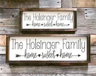 """Family Name Sign, Home Sweet Home Arrow, Year Established Framed Wooden sign (17.5"""" x 7"""")"""