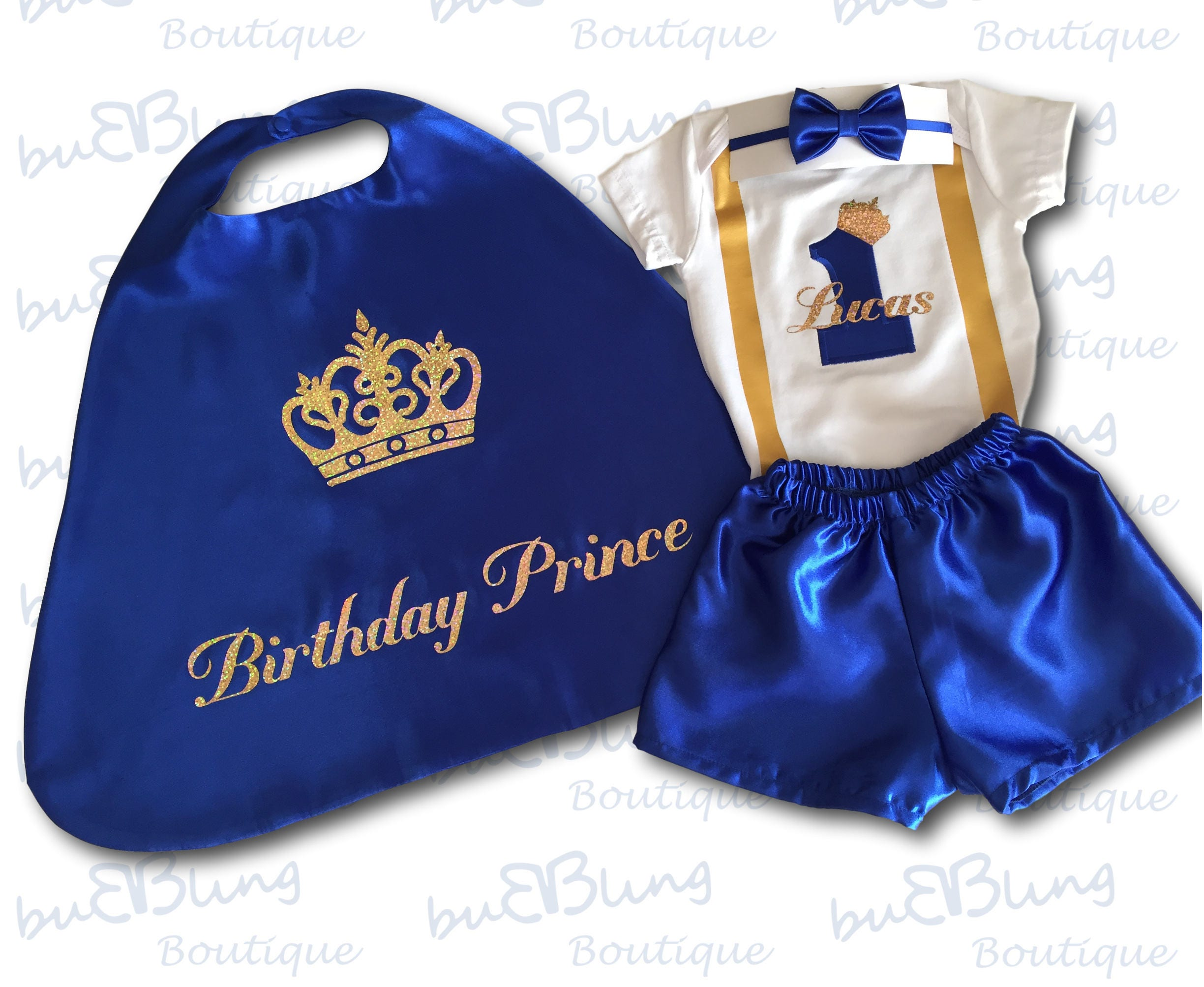 First Birthday Outfit Boy Blue 1st Cake Smash Royal