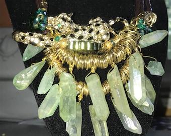 Cheetah crystals  necklace