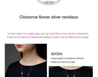Cloisonne flower silver necklace