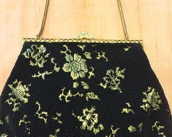 Vintage Gold and Black Evening Bag