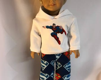 Superman! White hoodie hooded sweatshirt with Superman logo flannel pants 18 inch doll clothes boy doll clothes