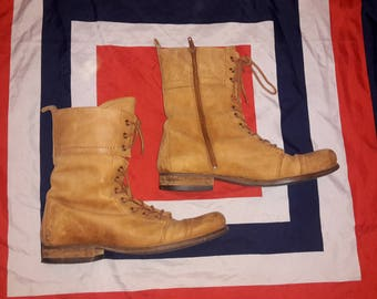 Tan leather combat style boots