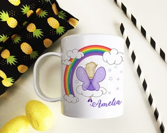 Personalised Kids Plastic Unbreakable Toddler Cup Rainbow Fairy