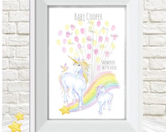 Baby shower fingerprint tree, Magical Unicorn, Christening, Babtism,Birthday, baby decor, Alternative guest book, A4 print