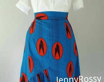 New AnkaraMidi skirt African print ruffle high low  hem skirt African skirtAnkara skirt African clothing