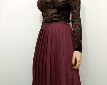 70s PLEATED PLUM  High Waist Midi Skirt Size Small S 2