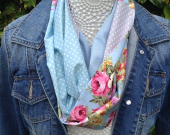 Handmade infinity spring scarf, blue pink yellow flowers polka dots cowl vegan neck warmer cotton looped scarf gift