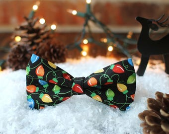 Christmas Lights Bow Tie | Winter Bow Tie | Bowtie | Dog Bow Tie | Christmas Dog Bow Tie | Mens Bow Tie | Boys Bow Tie