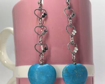 Heart of Heart Earrings, Valentine's Day Earrings, Galentine's Day, Valentine's Day Gifts, Turquoise Heart Earrings