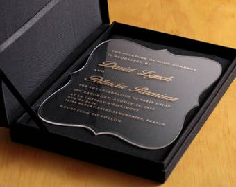 Custom Wedding Luxury Invitations // Acrylic Invitations // Engraved Invitations //
