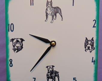 "Ceramic tile American Staffordshire Bull Terrier dog clock, 6"" square, green border"