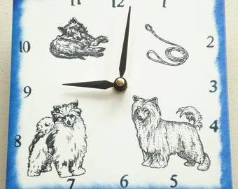 """Ceramic tile Chinese Crested (Puff) dog clock, 6"""" square, blue border"""