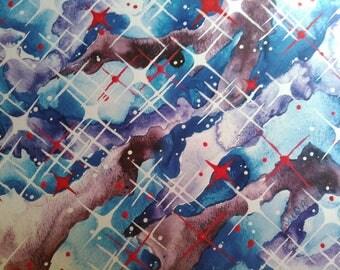 Art print, cool stars, red & blue, space, galaxy