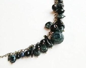 Black blue bracelet Czech glass beads mix chain boho bracelet gift for her for Mom unique glass beads chain bracelet casual jewelry cuffs