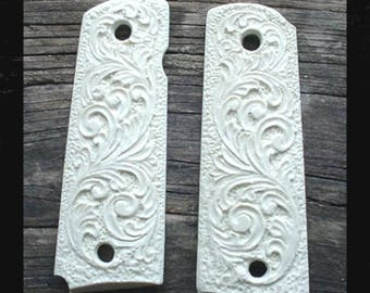 Colt 1911 45 ACP Government / Commander Grips Faux Ivory Scroll also Fits Clones