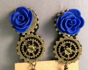 Blue Roses on Double steampunk themed gears, hook earrings, Steampunk gears, antique gold, 2 inches, nickel free, earrings 1 1/2 inches long