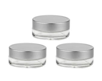 6 LUXURY 15ml Mini Plastic Cosmetic Jars Brushed Silver Lids, Private Label Empty Containers Solid Perfume, Salve, Glitter, Lip Gloss Balm