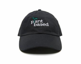 Plant Based Dad Hat, Plant Based Baseball Cap, Vegan Gift, Embroidered Baseball Cap, Adjustable Strap Back Baseball Cap, Low Profile