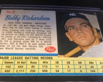 1962 Post Bobby Richardson Trading Card #2